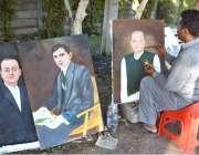 لاہور: ایک آرٹسٹ روڈ کنارے بیٹھا صدر مملکت ممنون حسین کی تصویر بنا رہاہے۔