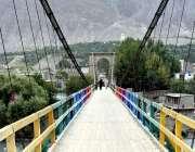 گلگت:دریا کراس کرنے کے لیے بنائے گئے پل کا خوبصورت منظر۔