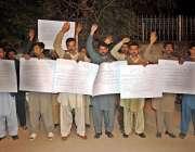 راولپنڈی: سادات کالونی واہ کینٹ کے رہائشی پریس کلب کے باہر تھانہ صدر ..