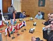 اسلام آباد: وزیر مملکت اطلاعات و نشریات مریم اونگزیب اے پی پی ہیڈ کوارٹر ..
