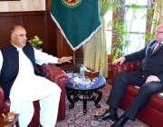 پشاور: گورنر خیبر پختونخوا شاہ فرمان سے بلارس کے سفیر ملاقات کر رہے ..