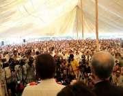پشاور: چیئرمین پی ٹی آئی عمران خان فاٹا کنونشن سے خطاب کر رہے ہیں۔