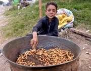 راولپنڈی: محنت کش بچہ اپنے خاندان کی کفالت کے لیے مونگ پھلی بھون رہا ..