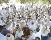 لاہور: واپڈا پیغام یونین کے زیر یاہتمام ملازمین واپڈا ہاؤس کے باہر ..