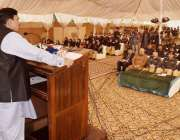 لاہور: وفاقی زیر ریلوے شیخ رشید احمد ریلویز پلویس لائنز میں خطاب کرر ..