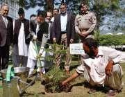 اسلام آباد: وزیر مملکت مراد سعید منسٹری آف کمیونیکیشن کے لان میں پودا ..
