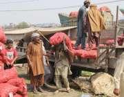 لاہور: سبزی منڈی میں محنت کش آلو کی بوریاں اٹھا رہے ہیں۔