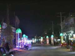 SARGODHA: A view of Tariqabad Road decorated with colourful lights in connection upcoming Eid Milad-un-Nabi (BPHU) celebration.
