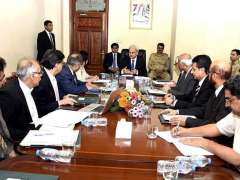 ISLAMABAD: Caretaker Prime Minister Justice (Retd) Nasir-ul-Mulk chairing a briefing by Ministry of Railways at PM Office.