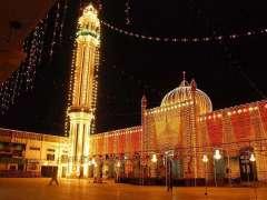 SARGODHA: An illuminated view of Hamid Shah Masjid decorated with colourful lights.