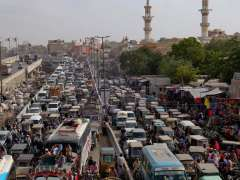 KARACHI: A view of traffic jam on Lalukhet market.