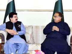 ISLAMABAD: Chairman Standing Committee on Devolution Senator Moula Bux Chandio called on Acting President Muhammad Sadiq Sanjrani at the Aiwan-e-Sadr.