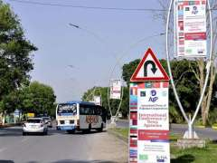 ISLAMABAD: A view of pana-flexes and banners displayed along the road as APP organizing two-day International Conference of News Agencies to be held on 13-14 May 2018.
