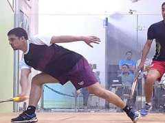 ISLAMABAD: Farhan Zaman and Zahir Shah in action during the 1st quarter final of Pakistan Squash Circuit-l men's event at Mushaf Squash Complex.