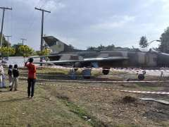 ISLAMABAD: A fighter plane model being fixed at roadside greenbelt in I-9 Sector.