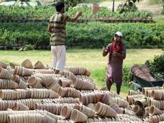 MULTAN: Gardeners busy in shifting plant pots to another place.
