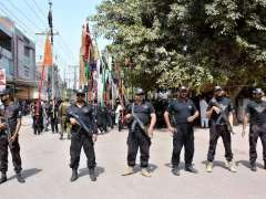 MULTAN: Security officials standing high alert during main procession on 9th Muharram Ul Haram.