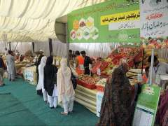 MULTAN: Ladies busy in purchasing different edible items from Sasta Ramzan Bazaar setup at Gulgasht in connection with Holy Month of Ramzan.