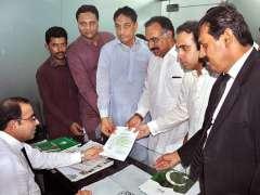 MULTAN: Punjab Governor's son Asif Rafiq Rajwana PP-214, Sheikh Tariq Rasheed NA-155 and Ahsan Uddin Qureshi PP-216 PML-N nominees are submitting their party tickets to returning officer.