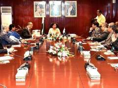 KARACHI: Caretaker Federal Finance Minister Shamshad Akhtar chairing a meeting with the officials of National Bank of Pakistan at NBP Head Office.