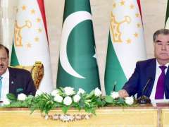 DUSHANBE: President Mamnoon Hussain and President of Tajikistan Emomali Rahmon addressing a joint press conference in Dushanbe.