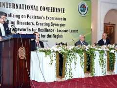 ISLAMABAD: Chairman NDMA, Lieutenant General Omar Mahmood Hayat addressing at the inaugural session of two-day international conference on Disaster Management.