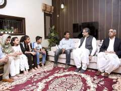 KARACHI:  Prime Minister Shahid Khaqan Abbasi condoling with bereaved family of late Sabika Sheikh, the victim of firing in school in USA.