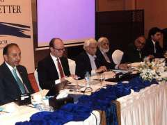 ISLAMABAD: Senator Dr Musadik Malik addressing during booking launching titled Pakistan Mapping the Policy Agenda.