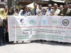 LAHORE: Participants' talk part in awareness rally to mark International Day against Drug Abuse and Illicit Trafficking at Art Council Organized by Drug Advisory Training Hub.
