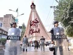 PESHAWAR: Security personnel high alert during Zul Jinnah Procession on 9th of holy month of Muharramul Harram at Saddar Bazaar.