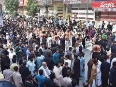 PESHAWAR: A view of Zul Jinnah Procession on 9th of the holy month of Muharramul Harram at Saddar Bazaar.