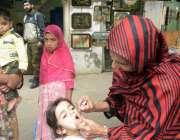 لاہور: پولیو مہم کے دوان لیڈی ہیلتھ ورکر ایک بچی کو پولیو کے قطرے پلا ..