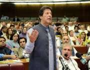 اسلام آباد: وزیر اعظم عمران خان قومی اسمبلی کے اجلاس سے خطاب کر رہے ..