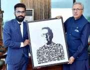 اسلام آباد: صدر ڈاکٹر عارف علوی کو آرٹسٹ محمد عمر ارشاد کے ذریعہ ایوان ..