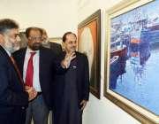 لاہور: صوبائی وزیر اطلاعات صمصام بخاری الحمراء میں پینٹنگ کی نمائش ..