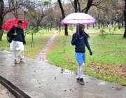 اسلام آباد: ایک شہری اور طالبہ بارش سے بچنے کے لیے چھتری تانے جارہے ..