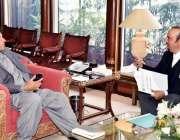 اسلام آباد: وزیر اعظم عمران خان سے ڈاکٹر بابر اعوان ملاقات کر رہے ہیں۔