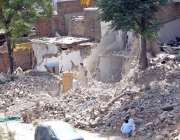 راولپنڈی: ٹی ایم اے کے زیر اہتمام تجاوزات کے خلاف آپریشن کے دوران عمارت ..
