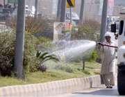 راولپنڈی: پی ایچ اے اہلکار ائیرپورٹ روڈ کنارے لگے پودوں کو پانی لگا ..