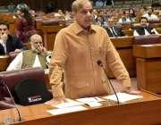 اسلام آباد: مسلم لیگ ن کے رہنما شہباز شریف قومی اسمبلی کے اجلاس کے موقع ..
