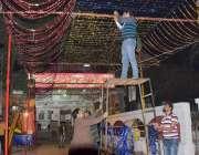 لاہور: حضرت مادھو لال حسین (رح) کے عرس کی آمد کے سلسلہ میں مزار کے احاطے ..