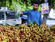 لاہور: ریڑھی بان موسمی پھل (لیچی) کو تازہ رکھنے کے لیے پانی کا چھڑکاؤ ..