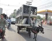 لاہور: ایک شخص گدھا ریڑھی پر ائیر کولر رکھے مارکیٹ جا رہاہے۔