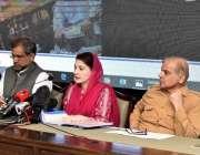 لاہور: مسلم لیگ ن کی نائب صدر مریم نواز سینئر قیادت کے ہمراہ پریس کانفرنس ..