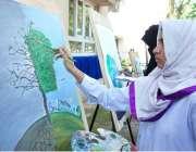 اسلام آباد: شجرکاری آگاہی مہم کے دوران طالبات پینٹنگ بنا رہی ہیں۔