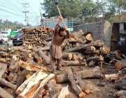 فیصل آباد: مزدور ٹال پر لکڑیاں کاٹنے میں مصروف ہے۔