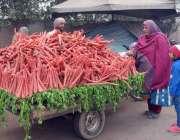 فیصل آباد: خاتون ریڑھی بان سے گاجری خرید رہی ہے۔