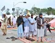 اسلام آباد: وفاقی دارالحکومت میں شاہراہ کشمیر پر جے یوآئی ایف کے دھرنے ..