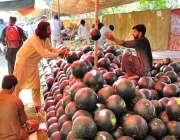 اسلام آباد: دکاندار گاہکوں کو متوجہ کرنے کے لیے تربوز سجارہاہے۔