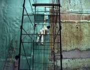 پشاور: ناز سنیما چوک میں مزدور 3 ڈی سنیما کی تزئین و آرائش کا کام کررہے ..